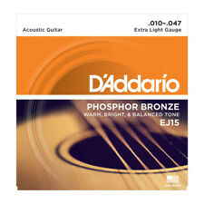 D'Addario EJ15 Acoustic Guitare Strings 10-47. Bronze Phosphoreux, Extra light gauge