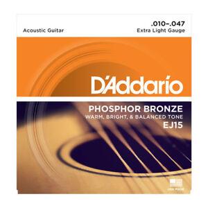 D'Addario EJ15 Acoustic Guitar Strings 10-47.Phosphor Bronze, Extra Light Gauge