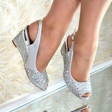 Damas Zapatos Tacón Medio Cristal cuñas Charol Peep Toe De Noche de Fiesta de Boda