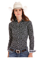 Panhandle Slim Women's Black & White Paisley Print Snap Up Western Shirt R4S5028