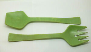 Vintage Art Deco early plastic salad servers Tongs fork spoon 1950s Green