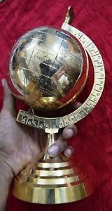 Children Educational Globe Of The World Map Golden Brass Boll Table Decor MD42