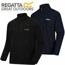 Regatta Mens Thompson Half Zip Micro Fleece Top Pullover Jacket - Black & Navy