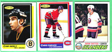 3 NICE NRMT TO GEM MINT OPC HOCKEY CARDS-'77/78 TROTTIER, 86/87 NEELY & CHELIOS