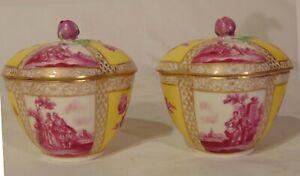 2 18th C Ludwigsburger Duke Carl Eugen German Porcelain Dresden Covered Jars Box