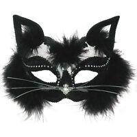 Trasparenti Mascherina di Occhio di Gatto Nero Pelo Vestito per Halloween Donna