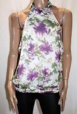 TEMT Brand Women's Purple Floral Chiffon Halter Top Size 12 BNWT #SE56