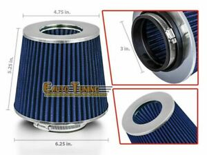"""3"""" Short Ram Cold Air Intake Filter Round Universal BLUE For Mercedes Benz 2"""