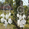 Dream Catcher Circular White Feathers Wall Hanging Decoration Decor Craft White