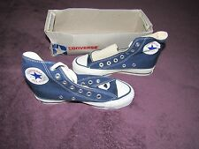 NIB VINTAGE CONVERSE ALL STAR CHUCK TAYLOR KIDS 2.5 NAVY HI SILVER BOX MADE USA