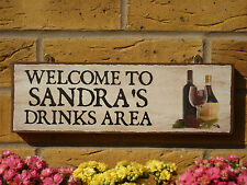 PERSONALISED OUTDOOR BAR SIGN DRINKING AREA SMOKING SIGN YOUR OWN NAME SIGN WINE