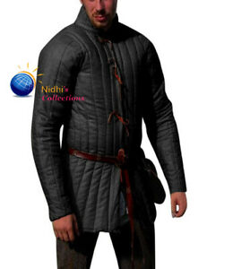 Medieval Aketon Jacket Full Sleeves Coat Thick Padded Costume Gambeson SCA LARP