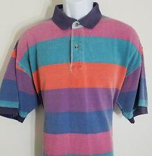 Vintage 90's Multi-colored Tommy Hilfiger wide Striped Polo Men's sz XL