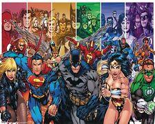"""DC COMICS CARTOON POSTER PRINT TEAM SUPERHEROES 24""""X36"""" NEW"""