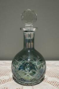 Vintage Etched Glass Scent Bottle - Lustre - Teal Cut To Clear - Faceted Stopper