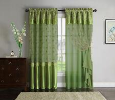 "Green Window Curtain Drapery Panel: Double-Layer, 55""x90"""