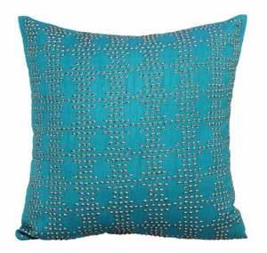 Handmade 16x16 inch Blue Throw Pillow Cover Silk, Sequins - Blue Tech Lite