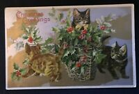 Cute~CATS kittens~with Basket of Holly ~ANTIQUE Embossed~Christmas Postcard-a540