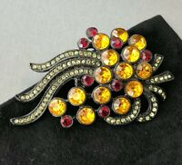 Vintage Multi-colored Crystal Rhinestone Abstract Flower Brooch Estate Jewelry