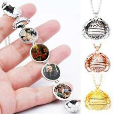 Expanding Photo Locket Necklace Silver Ball Angel Wing Gift Memorial F1V5