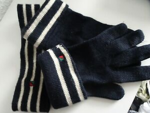 ♥ RED // GREEN ♥ Strickset: Stirnband & Fingerhandschuhe ♥ dunkelblau ♥