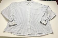 Arrow Men's Dress Shirt XXL 18 ½ 36 37 Blue White Stripe Button Up Long Sleeves