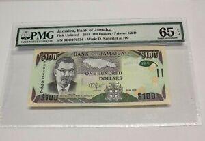 BANK OF JAMAICA 100 DOLLARS $100 Note Jamaican Money PMG Gem UNC 65EPQ Certified