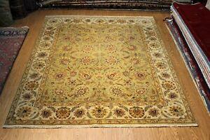 Top Quality 8X10 Handmade rug, Floral Design vegetable dye Light green color