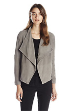 Joie Olivine S Gray Goat Leather Jacket Draped Suede Deep Desert Fog Open $798