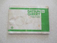 1980 Datsun Cherry Model N10 series car owner's manual