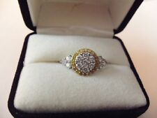 1KT WHITE / YELLOW DIAMOND RING SET IN WHITE GOLD CERTIFIED W PAPERS