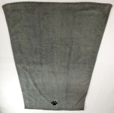 "Dii Bone Dry Microfiber Dog Bath Towel with Embroidered Paw Print, 44x27.5"" Gray"