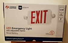 Lithonia Exit Sign Emergency Lighting Combo Contractor Select Red Led New
