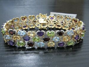 18k Yellow Gold Plated Multi Gemstone Tennis Bracelet