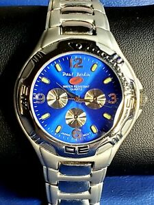 Classic Paul Jardin Blue-faced Stainless-steel Gun-metal Men's Quartz Watch.