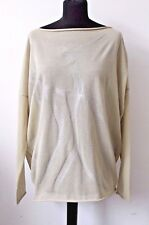 Sarah Pacini Designer Ladies Artisan Beige Sweater Top Made in Italy One Size