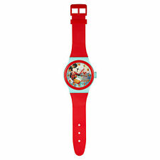 Disney Mickey Mouse Red & Turquoise Jumbo Wristwatch Wall Clock 92cm