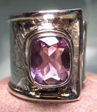 Handmade Band Amethyst Sterling Silver Fine Rings