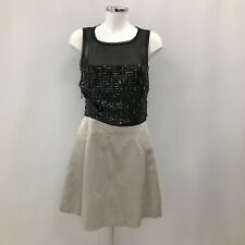 Karen Millen Sequin Silk Skater Dress UK 8-10 Black & Grey Party Formal 293695