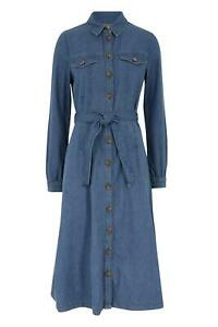ex M&S Holly Willoughby Denim Midi Dress Long Sleeve Tie Waist Button Front