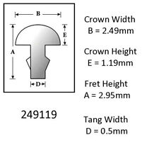 Sintoms 18% Nickel Silver Fret Wire 2.5mm. Set of 12 pieces