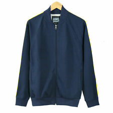 Men's Navy Polyester Cover Cotton Zip up Sport Baseball Track Jacket Cool Size L