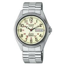 Mens Pulsar Railroad Approved Stainless Stretch Neon Dial Day Date Watch PXN021