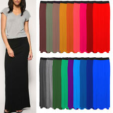 Women's Ladies Gypsy Long Jersey Bodycon Maxi Dress Skirt Ladies Skirt Size 8-26