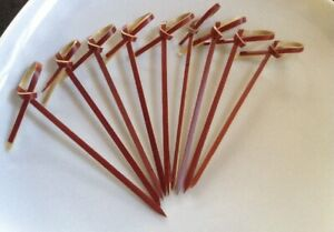 100pcs Red 9cm Bamboo Loop Skewers - Eco Bio Degradable Food Cocktail Bar Use
