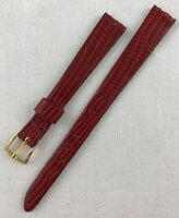 Vintage Speidel Genuine Lizard Skin Leather 11mm Non Stitched Red Watch Band W35