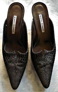 Manolo Blahnik black bronze print leather mules kitten heel slides shoes 42 EUC
