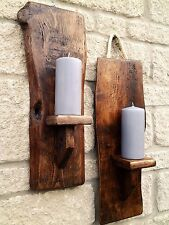 Pair Handmade Reclaimed Rustic Wood Wall Mounted Pillar Sconce Candle Holder