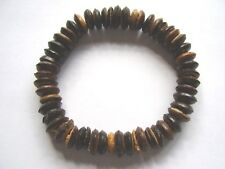 Dark brown coco wood bead stretch surf style bracelet