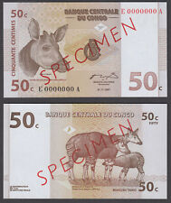 (B18) Congo D.R. 50 Centimes 1997 UNC SPECIMEN Banknote P-84As